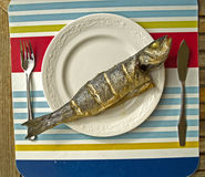Seabass served Royalty Free Stock Photos