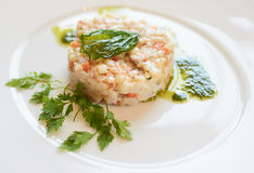 Seabass tartare with parsley and pesto Royalty Free Stock Photos