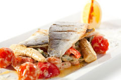 Seabass with Tomato Royalty Free Stock Photo