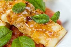 Seabassfilé med grönsaker Royaltyfria Bilder