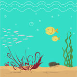 Seabed. Vector iluustration of seabed with fish Royalty Free Stock Photos