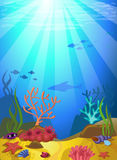 Seabed with corals. Vectorial illustration of a seabed with corals and small fishes Stock Images