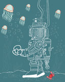 Seabed. Deep-sea diver with jellyfish and crab Royalty Free Stock Image