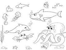 Seabed with marine animals object. Vector coloring for kids, cartoon. Royalty Free Stock Photography
