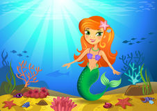 Seabed with mermaid and corals. Vectorial illustration of a mermaid on a seabed with corals and small fishes Stock Photo