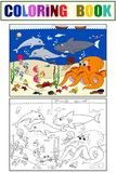 Seabed With Marine Animals. Vector Coloring For Kids, Cartoon.