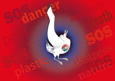 Seabird mortality from plastic. Ecological poster in defense of dying from plastic seabirds. White sea bird with plastic objects in the stomach dies in agony on vector illustration