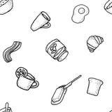 Seabless传染媒介样式用早餐茶,咖啡,柠檬,黄油,面包, croisson, becon,燕麦,鸡蛋 免版税库存图片