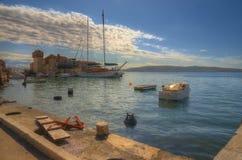 Seaboard on Kastela,  Adriatic sea, near Split, Croatia - Kastel Gomilica Stock Photo