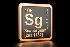 Seaborgium Sg chemical element. 3D rendering. Seaborgium Sg, chemical element. 3D rendering isolated on black background Royalty Free Stock Photography