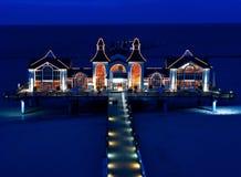 Seabridge restaurant in Sellin, Ruegen at night Stock Image