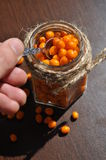 Seabuckthorn. In jar, Background from sea-buckthorn berries (Hippophae rhamnoides). This product contain plenty of vitamin C Stock Photos