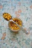 Seabuckthorn misto con il primo piano del miele in un cucchiaio sopra un barattolo Immagini Stock Libere da Diritti