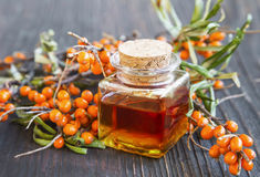 Seabuckthorn oil. Bottle with berries branches Stock Photography