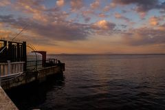 Touristic Seabus Dock In Sunset Royalty Free Stock Images