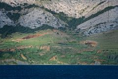 Seacape Panorama, Island of Pag in Croatia. Seacape Panorama of Mediterranean Island of Pag in Croatia Royalty Free Stock Image
