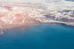 Seacoast Ισλανδία χειμερινής εναέριο άποψης Στοκ φωτογραφία με δικαίωμα ελεύθερης χρήσης