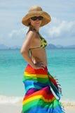 seacoast καπέλων μόνιμη γυναίκα αχύ& στοκ εικόνες