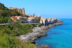 Seacoast Cefalu, Sicily, Włochy Obraz Stock