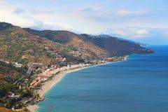 Seacoast de Taormina, Sicília, Itália Fotos de Stock