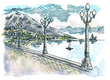 Seacoast. Landscape. Sketchy style drawing. Ink and watercolor on paper Stock Photography