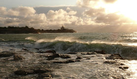 Seacoast landscape: wave lit by the sun. Sea scene wave lit by the sun Stock Photo