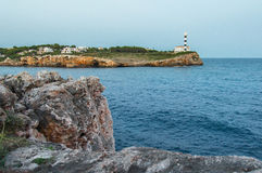 Seacoast with lighthouse Royalty Free Stock Images