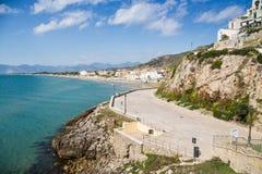 Seacoast of old town Sperlonga, Lazio, Italy Royalty Free Stock Image
