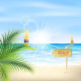Seacoast with palm leaves, sunshine, beach and sailboats. Royalty Free Stock Photo