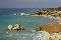 Seacoast with Petra tou Romiou or Aphrodite`s Rock Royalty Free Stock Photo