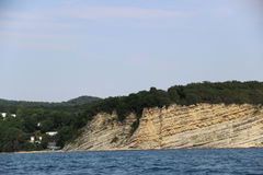 Seacoast with rocks. Rocky Mountains on the Black Sea coast Stock Photography