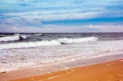Seacoast with sea and sand Royalty Free Stock Photos