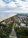 The seacoast of Sopot, Poland. Aerial view of the seacoast of Sopot, Poland stock images