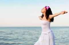seacoast sundress biała kobieta Fotografia Royalty Free