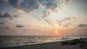 Seacoast at sunset stock footage