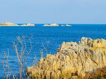 Seacoast and view of the gulf on the Guernsey Island Stock Photos