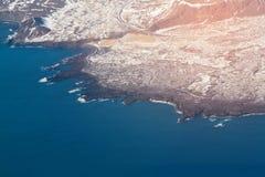 Seacoastlandskap för bästa sikt över luftsikten, Island Fotografering för Bildbyråer