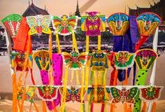 Seacon Bangkae, Μπανγκόκ, Ταϊλάνδη τον Αύγουστο 12.2017: Επίδειξη της ζωηρόχρωμης ταϊλανδικής kitesselective εστίασης Στοκ Εικόνα