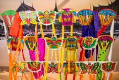 Seacon Bangkae, Bangkok, Thailand op 12,2017 Augustus: Vertoning van kleurrijke Thaise kitesselective nadruk Stock Afbeelding