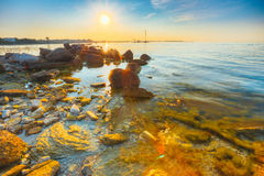 Seacost Seashore Sea Water, Coastline At Sunset Sunrise In Tallinn Stock Photos