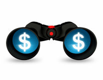 Seacrh of dollar. Binoculars with two dollar signs on the lens face Royalty Free Stock Photo