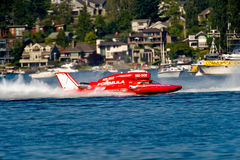 Seafair Race Hydro Boat. Unlimited hydro race boat along the log boom at Seafair on lake washington in seattle wa Royalty Free Stock Images