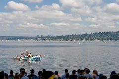 Seafair Sunday Hydro Race Crowd. Crowd of people on the shore at the Unlimted Hydro Races on Lake Washington Seafair Sunday in Seattle WA Royalty Free Stock Photography