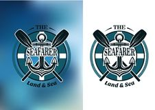 Seafarer badges with crossed oars royalty free illustration