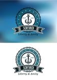 Seafarer badges or emblems. In nautical blue with a ships anchor in a circular frame and chain with a banner and text Seafarer Liberty and Amity, on a blue and Stock Images