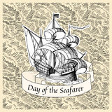 Seafarer day. Vintage background with old ship for Seafarer day Royalty Free Stock Photos