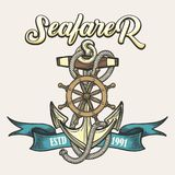 Seafarer Emblem in Tattoo style. Nautical vintage label, emblem or print in tattoo style. Anchor, rope, steering wheel and ribbon. Vector illustration Royalty Free Stock Photo