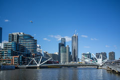 Seafarers Bridge over Yarra River in South Warf , Melbourne CBD Royalty Free Stock Photos