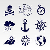 Seafaring icons set Royalty Free Stock Images