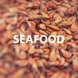 Seafish Bon Appetit Φρέσκες γαρίδες στην υπαίθρια αγορά θαλασσινών Στοκ εικόνες με δικαίωμα ελεύθερης χρήσης